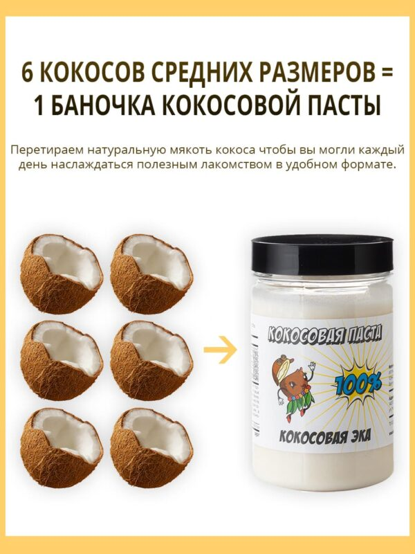 Кокосовая паста без сахара 250 грамм