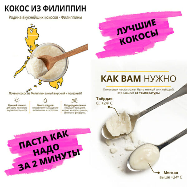 Кокосовая паста 900 грамм | Набор 4 ведёрок